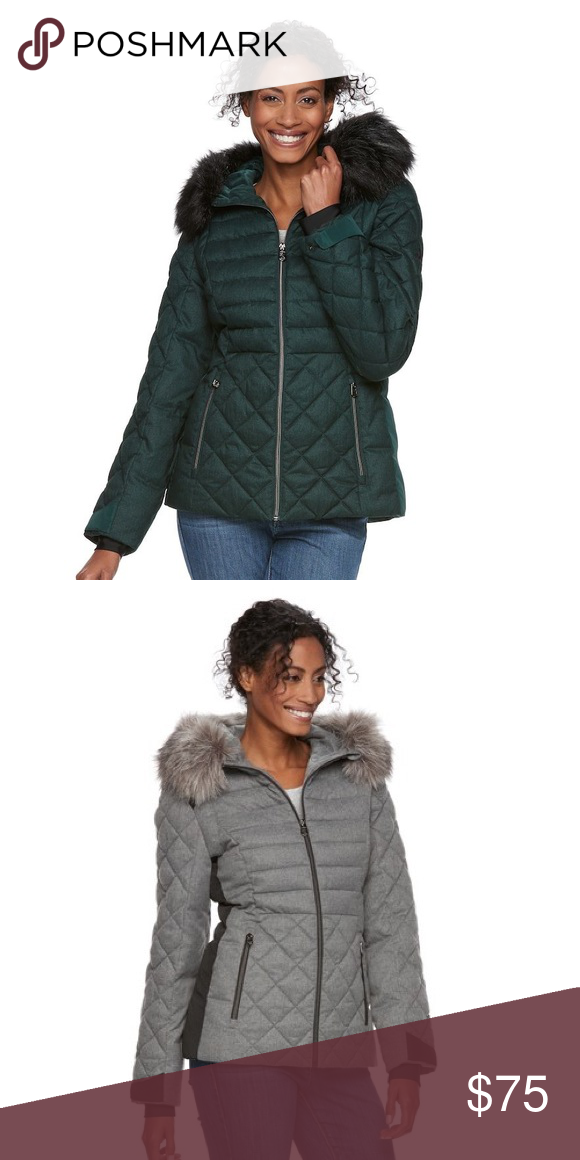 efb55235018 Women's ZeroXposur Quilted Hooded Puffer Jacket EMERALD GREEN COLOR  Attached hood with removable faux-fur