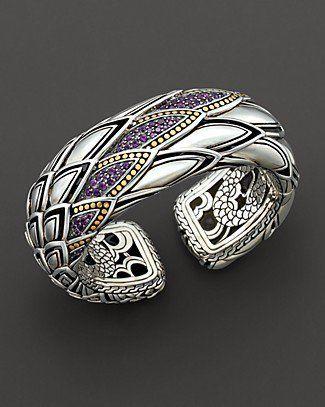 "John Hardy ""Naga Lava"" Bold Kick Cuff with Amethyst - Fine Jewelry - Bloomingdales.com"