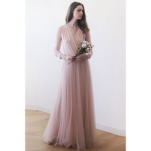 Blush Tulle Maxi Dress (€165) ❤ liked on Polyvore featuring dresses, gowns, one size, v neck maxi dress, long sleeve dress, long sleeve v neck dress, maxi dress and blush gown