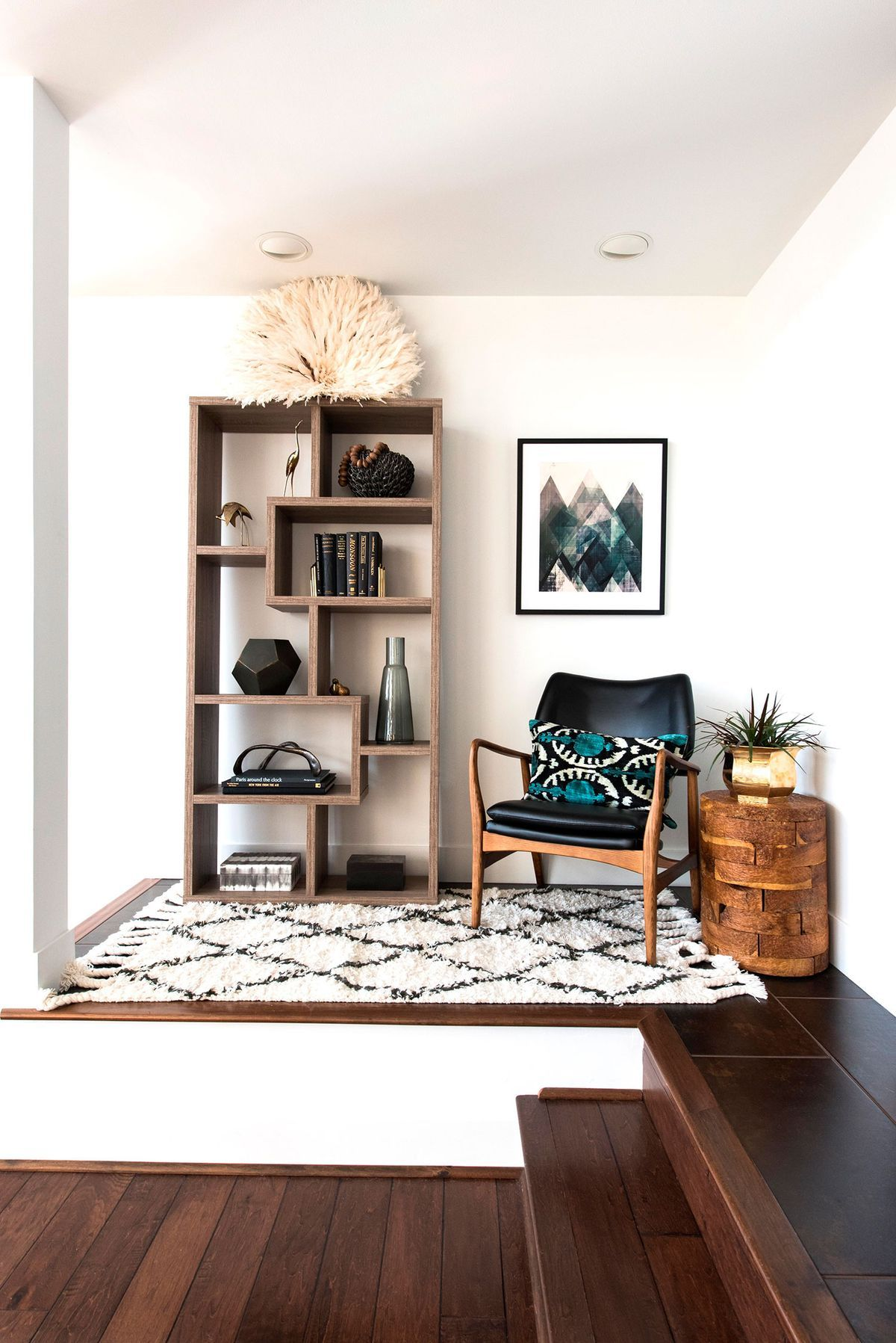 Wonderful Bright White Reading Nook With Bookshelf, Chair And Printed Rug. Wood  BookshelvesBookshelf Living RoomBookcaseScandinavian ... Part 13