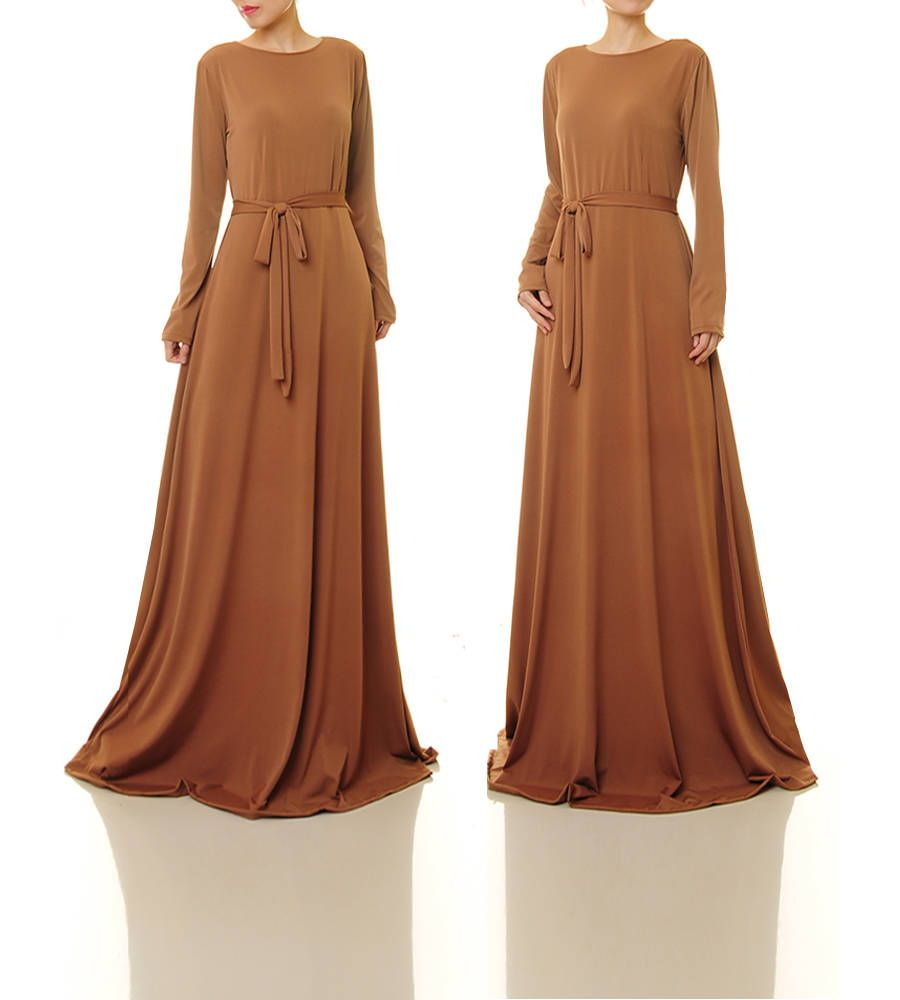 Brown dress long sleeve maxi dress brown evening dress brown
