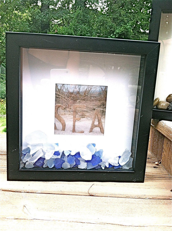 Shadow box photo sea glass frame. | Coastal Etsy | Pinterest | Sea ...