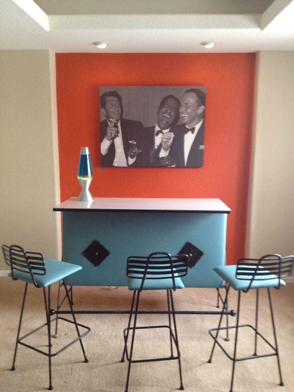 retro bar/ I have bar stools very similar to these w/ orange seats ...