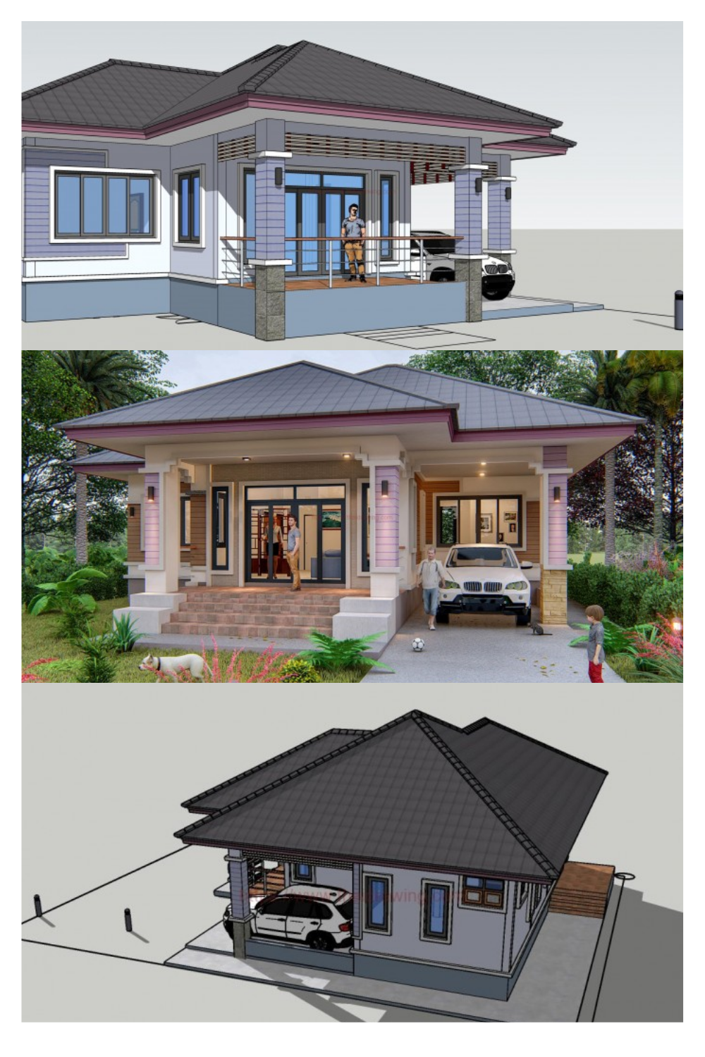Three Bedroom House Design That Looks Simple Yet Attractive Bungalow Style House Plans Village House Design Three Bedroom House