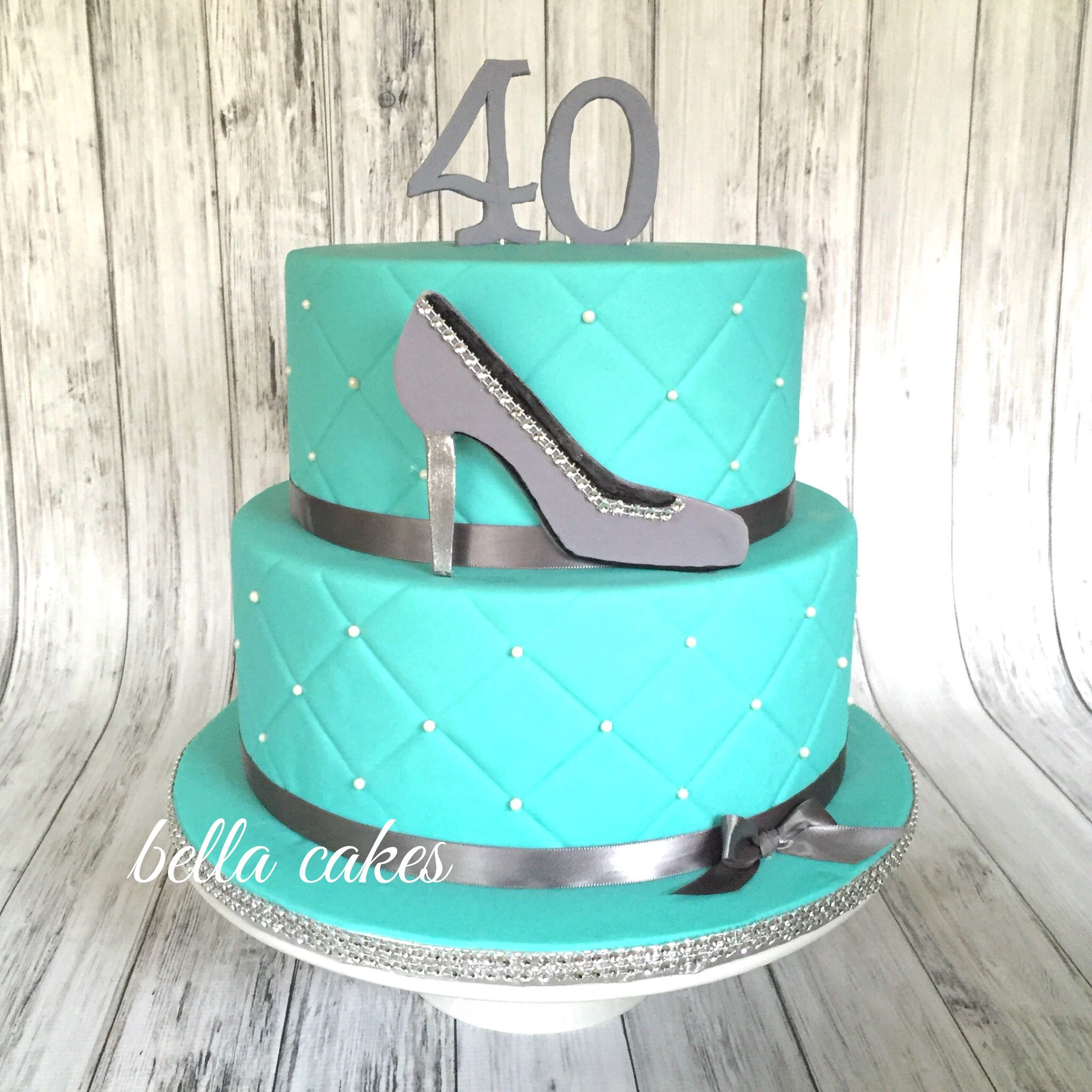 Excellent 40Th Birthday Tiffany Co Themed Cake Bella Cakes With Images Funny Birthday Cards Online Alyptdamsfinfo