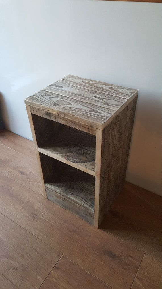 Rustic Wood Bedside Table: Rustic Bedside Table / Nightstand Made From Reclaimed