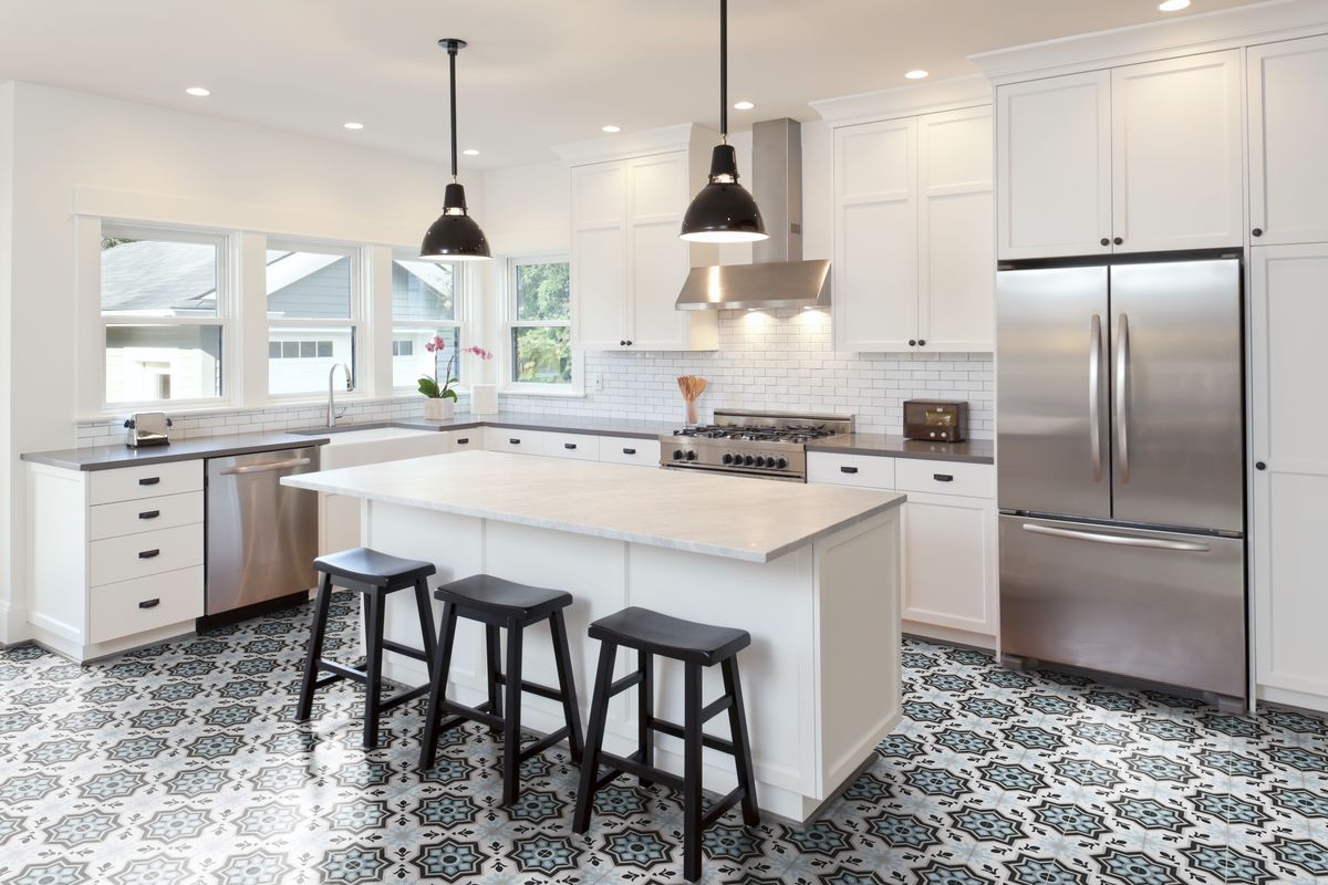Neo Ii Patterned Concrete Tile Creating A Beautiful Kitchen Floor
