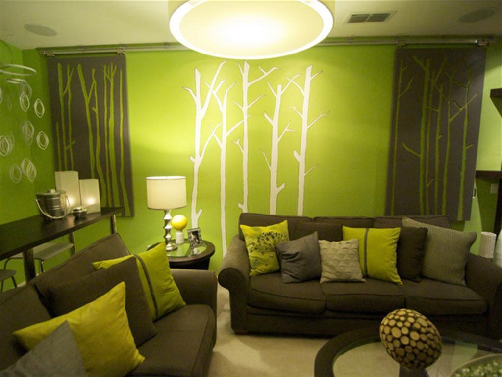 apple green and brown living room  | living room green