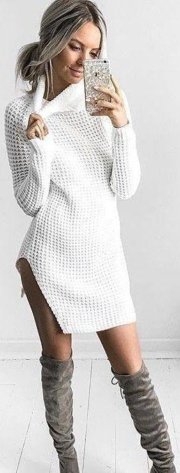 White summer sweater dress