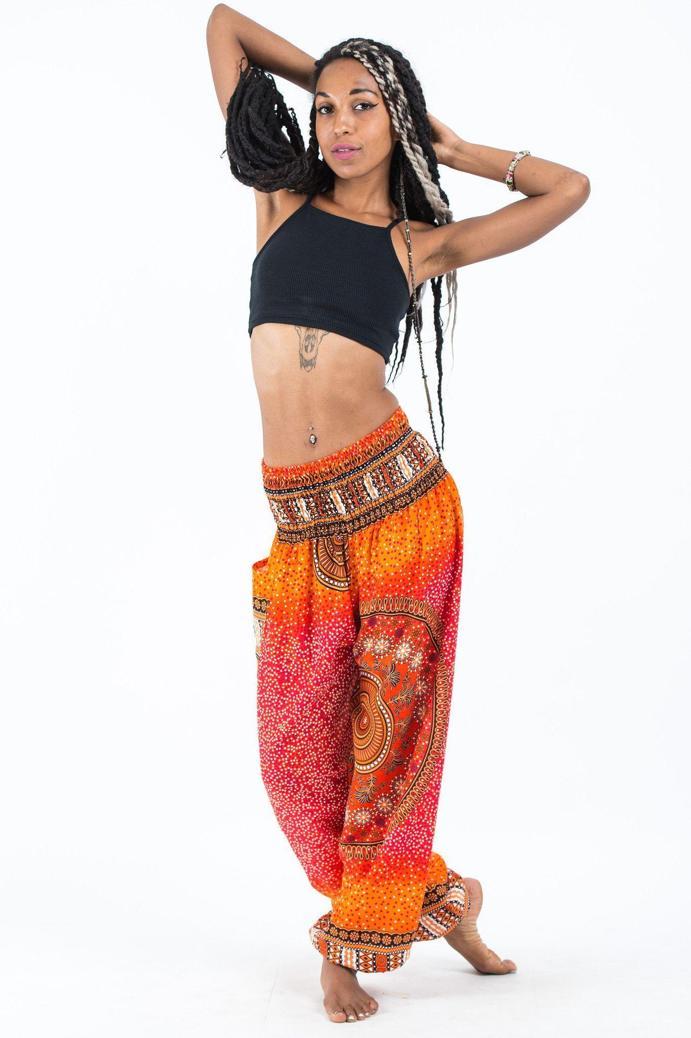 dce7344dd70d Tribal Chakras Women s Harem Pants in Orange