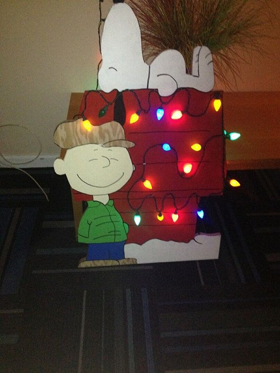 snoopy and charlie brown yard art with led lights