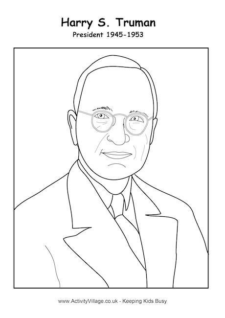 harry s truman coloring page