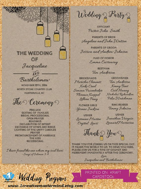 DIY Rustic Wedding Program Template Printable Editable PDF