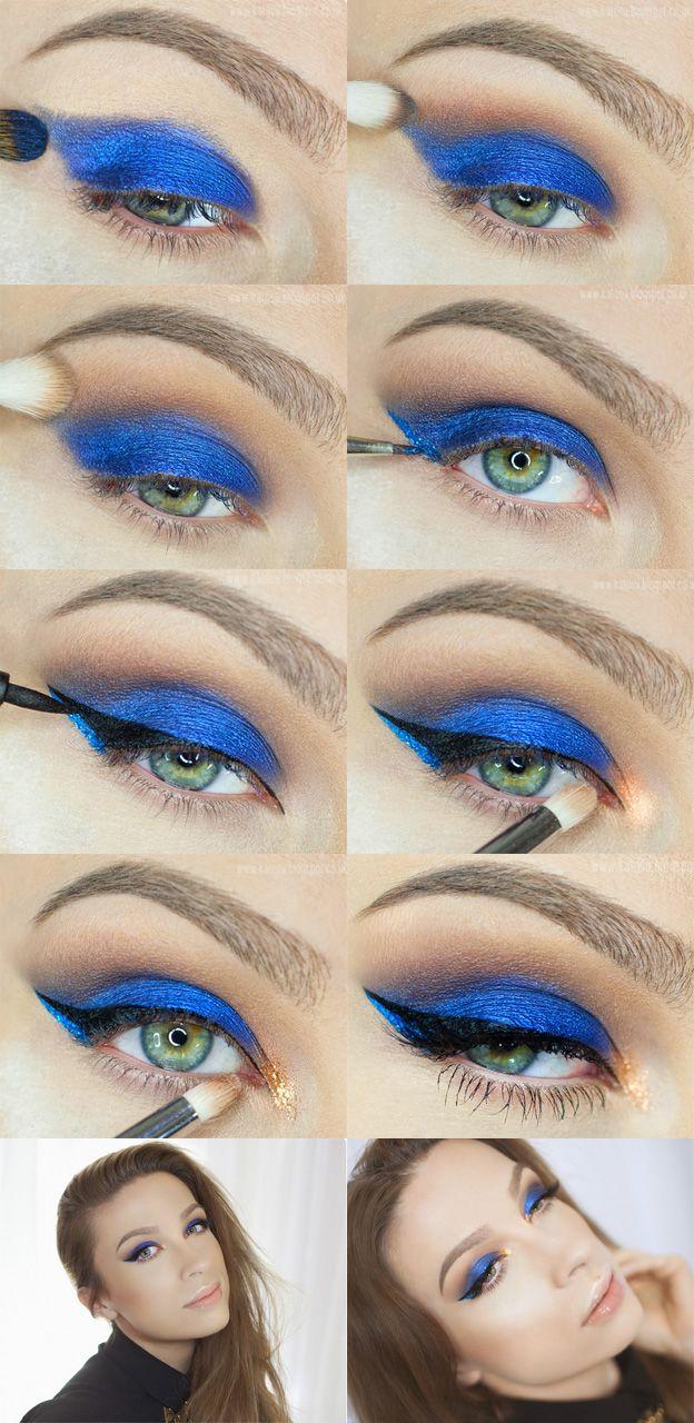Макияж для карих глаз синими тенями пошаговое фото
