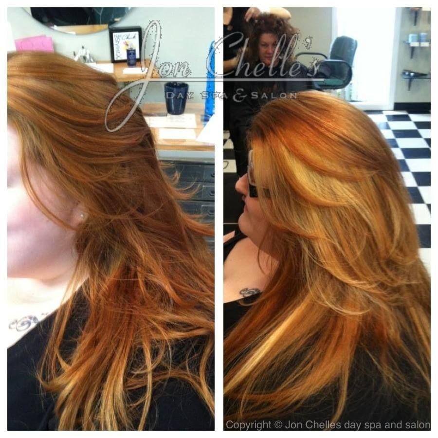 Blonde Peek A Boo Highlights In Long Copperorange Hair Great Fall