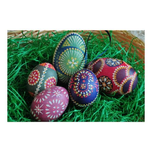 Ornate Painted Easter Eggs Poster