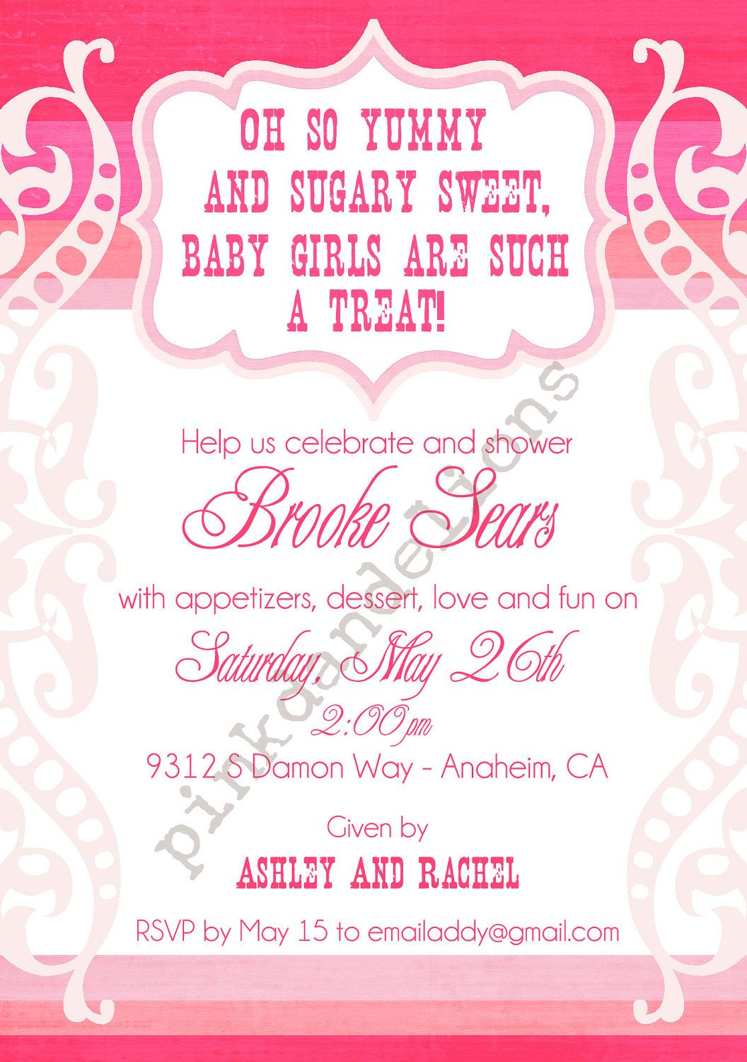 Baby Girl Shower Invitation Pink Candy By PinkDandelions
