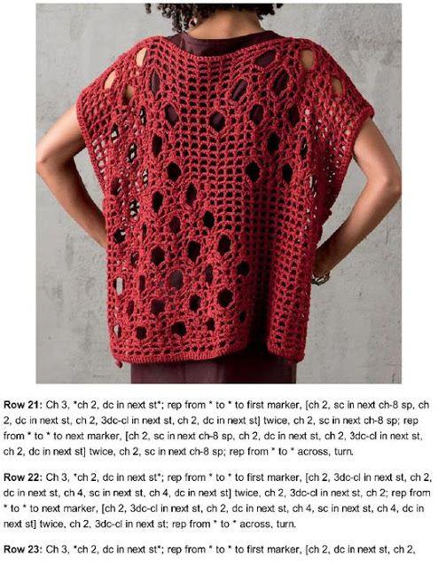 Chaleco Rectangular de UNA sola pieza Patron - Patrones Crochet ...