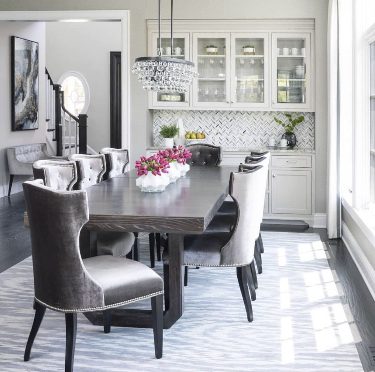 Kitchen   Transitional dining room, Rectangular dining ...