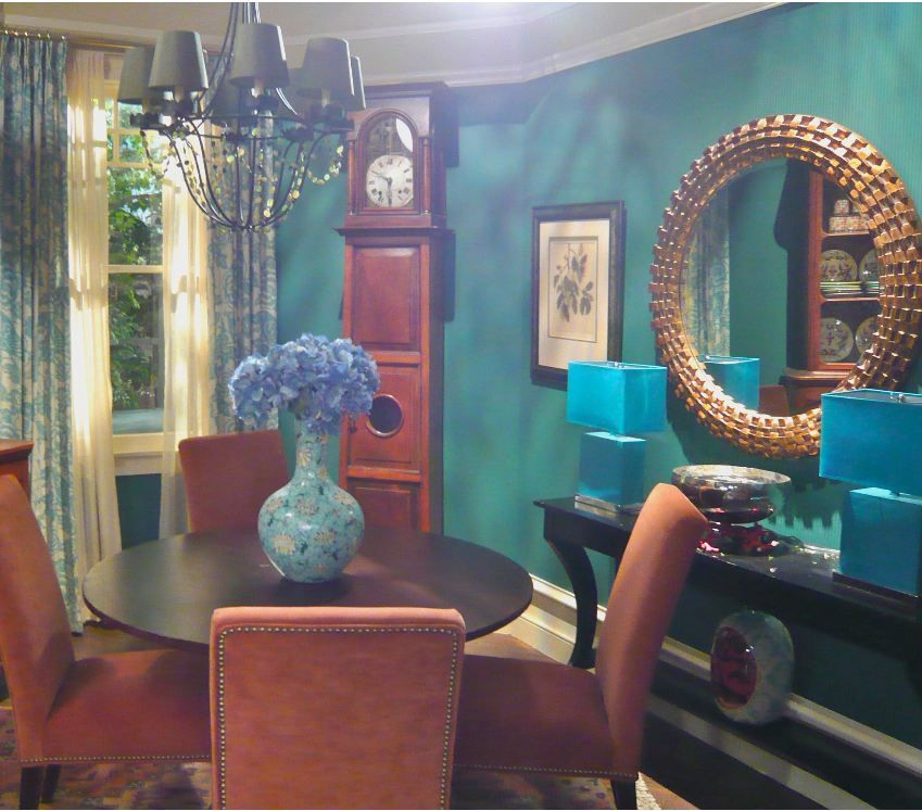 Hot In Cleveland Dining Room Teal Gold