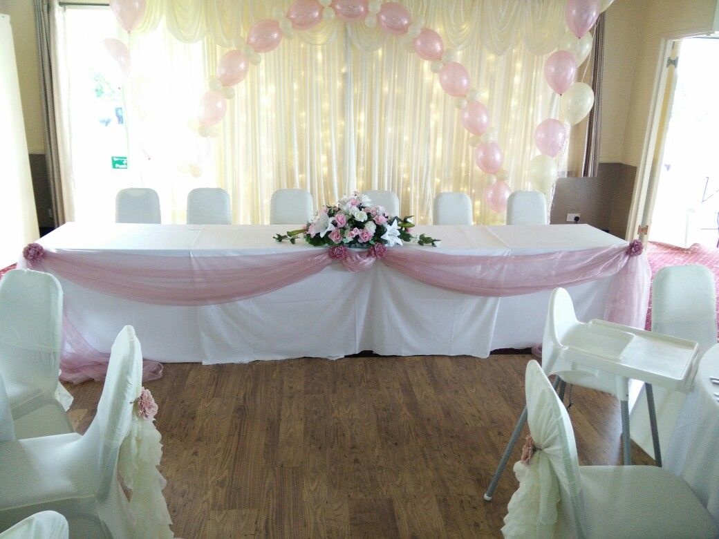 Wedding Chair Covers Yeovil Swivel Reclining Chairs Small Dusky Pink Top Table Swag Balloons And Ivory Backdrop At
