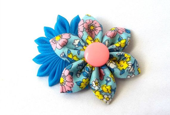 Turquoise and Pink Floral Kanzashi Barrette by ScarlettandMaria