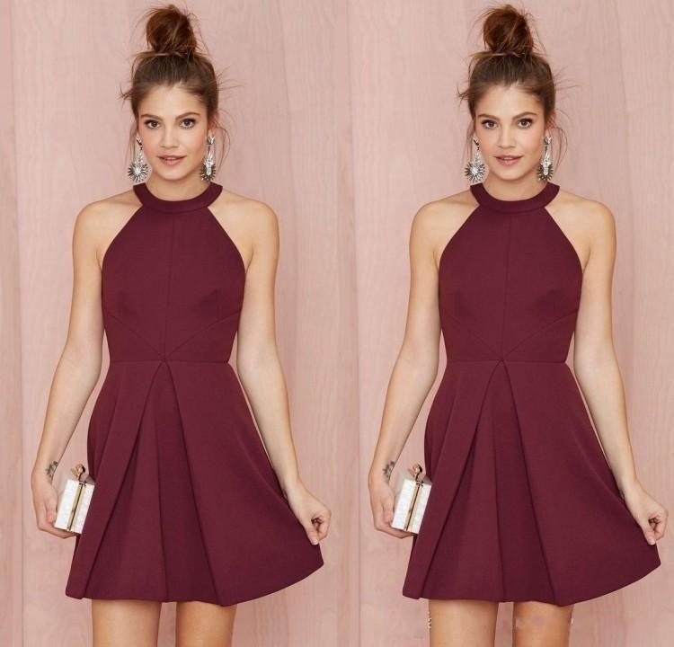 Cheap Short Bridesmaid Dresses Homecoming Dresses burgundy Halter ...