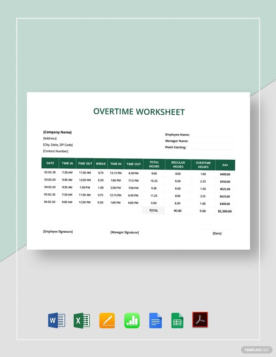 Overtime Worksheet Template Word Excel Google Docs Apple Pages Google Sheets Apple Numbers Pdf In 2020 Worksheet Template Worksheets Google Sheets