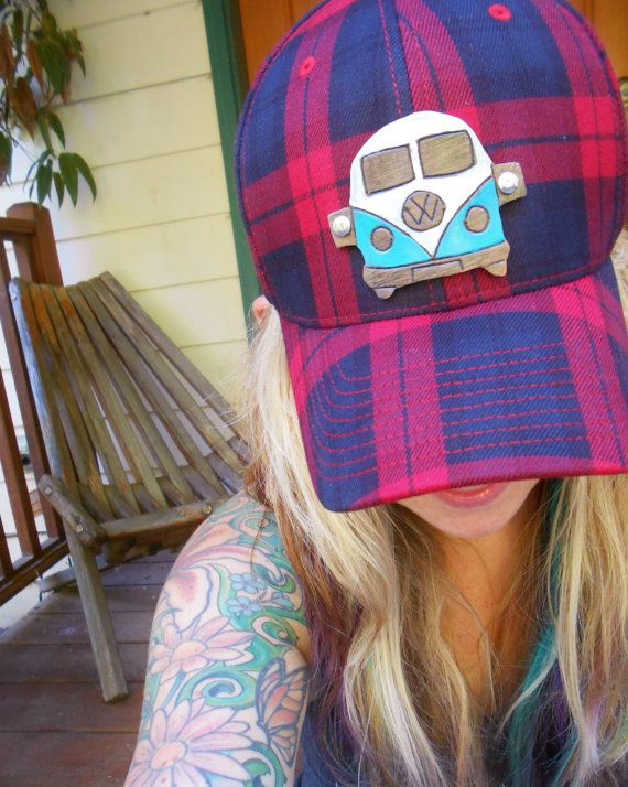 ahhhh I love this!!! <3 <3 <3 Baseball Cap  VW Adventure Bus  Red and Black Plaid by OneLaneRoad, $28.00