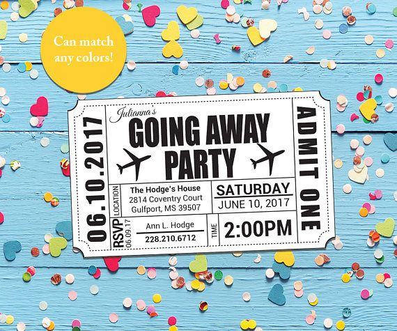 Going AwayBon VoyageFarewell Party Ticket Invitation Printable