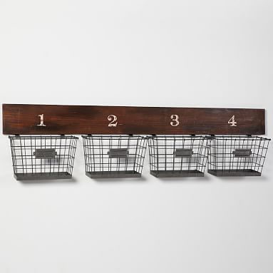 Wood And Wire Wall Multi Basket Baskets On Wall Wall Basket Storage Wall Mounted Wire Baskets