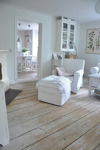 Distressed White Wood Floor