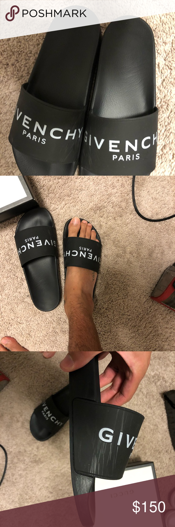 Givenchy Men S Slides Bought These A Couple Of Months Ago Size 11 With Some Superficial Scratches Where The Inside Bands Givenchy Man Givenchy Shoes Givenchy