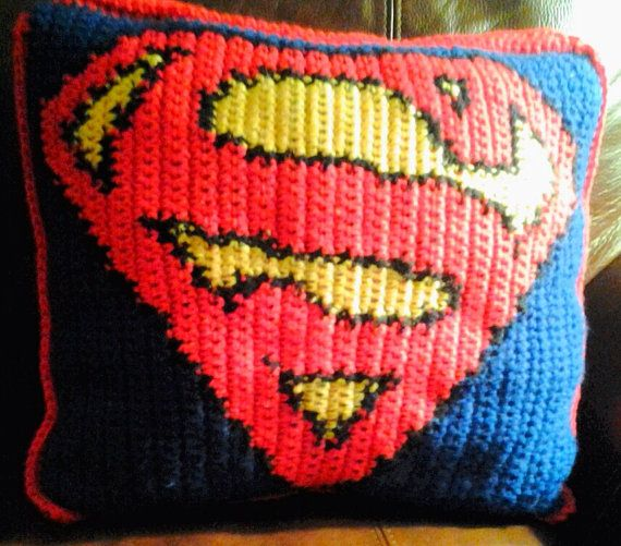 Crochet Superman Stash Pillow on Etsy, $50.00 | Bebe | Pinterest ...