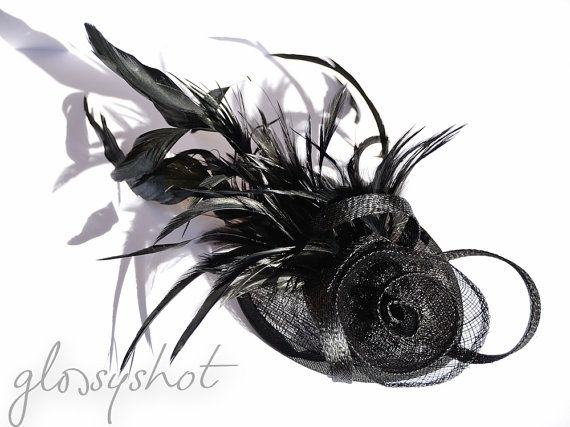 Beautiful Black Sinamay Headpiece With Removeable Hairband