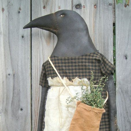 This is for the MAILED pattern ONLY, not for the finished piece. I do not do E patterns.    Herb Crow Ladye is a good sized crow to hang or sit.