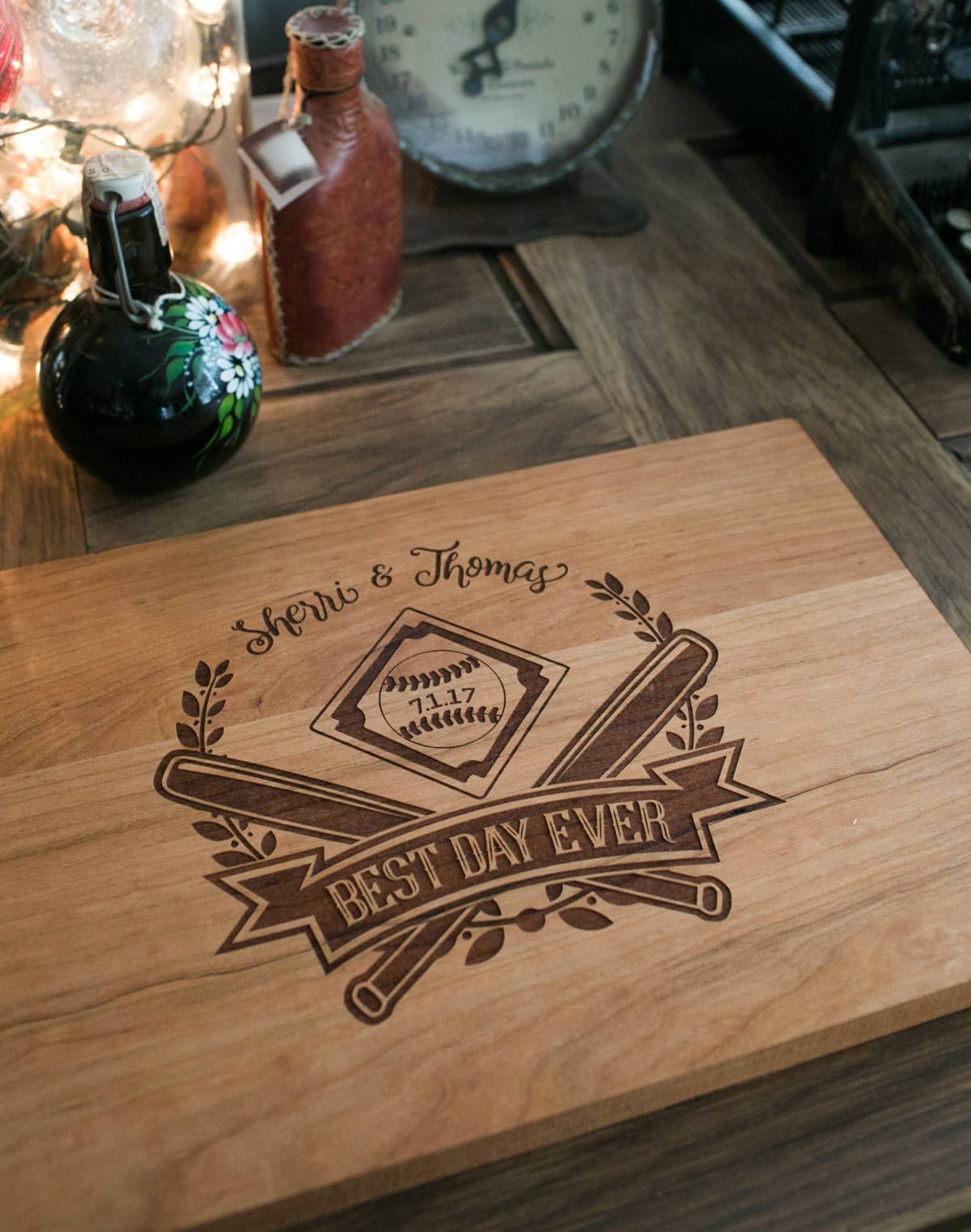 wedding theme baseball cutting board design best day ever