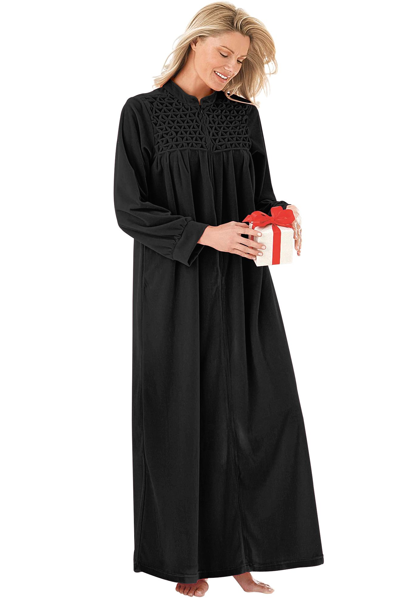 389045152e4 Smocked velour zip-front robe by Only Necessities®