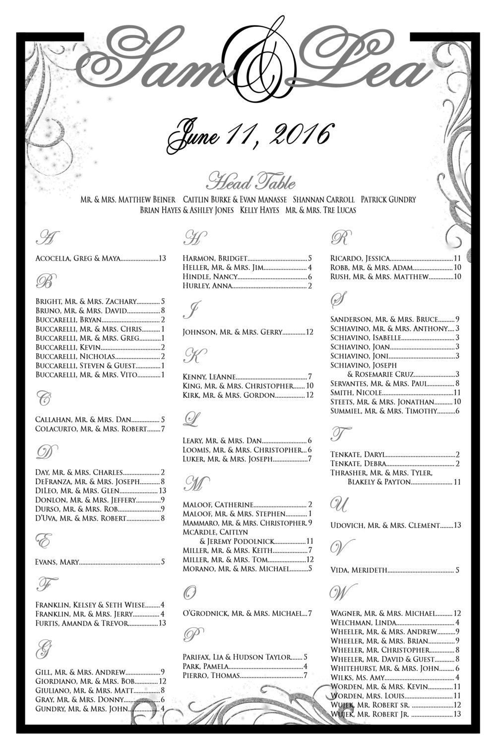 Printed Wedding Seating Chart Wedding Seating Chart Template