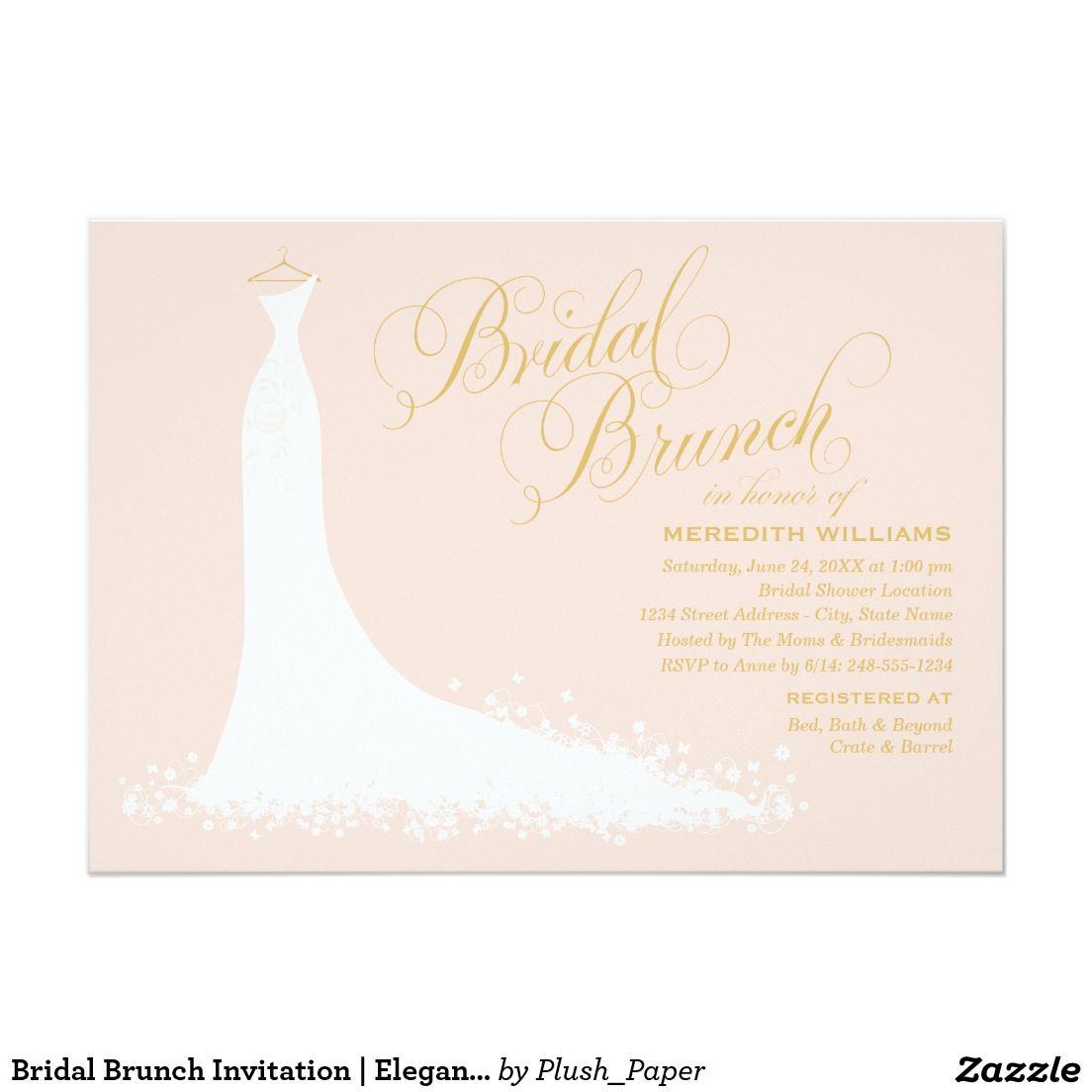 Bridal Brunch Invitation Elegant Wedding Gown Elegant Wedding