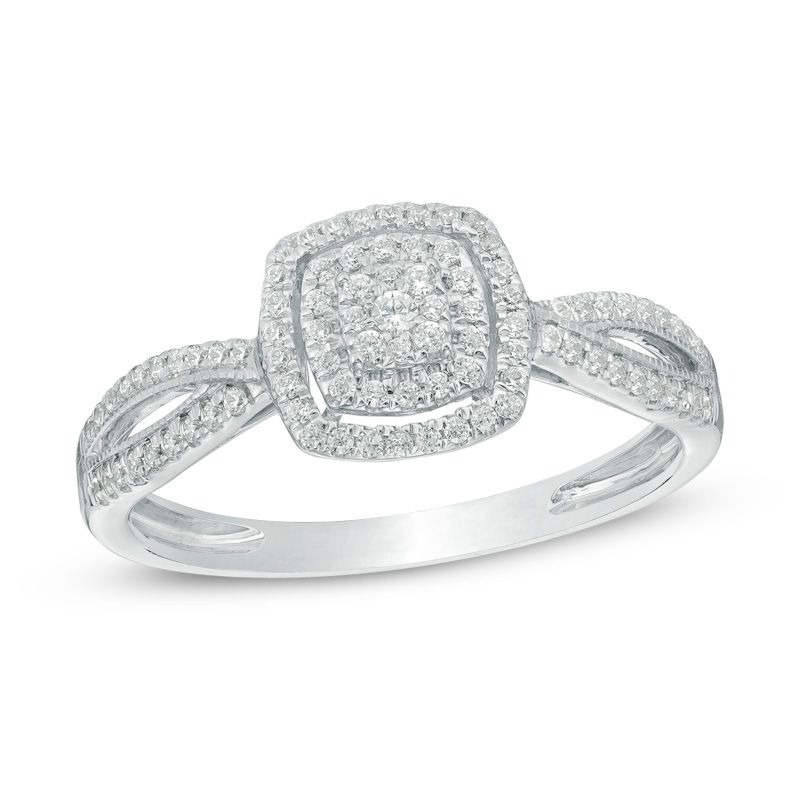 Zales 1/5 CT. T.w. Princess-Cut Diamond Square Cluster Promise Ring in 10K White Gold 4qQs4emnU