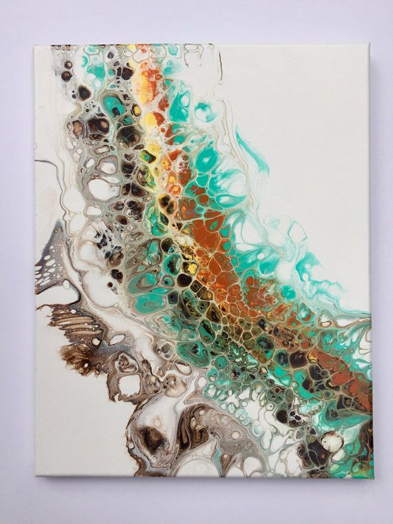 Acrylic pour painting Abstract fluid art Bound For Adventure 9x12in