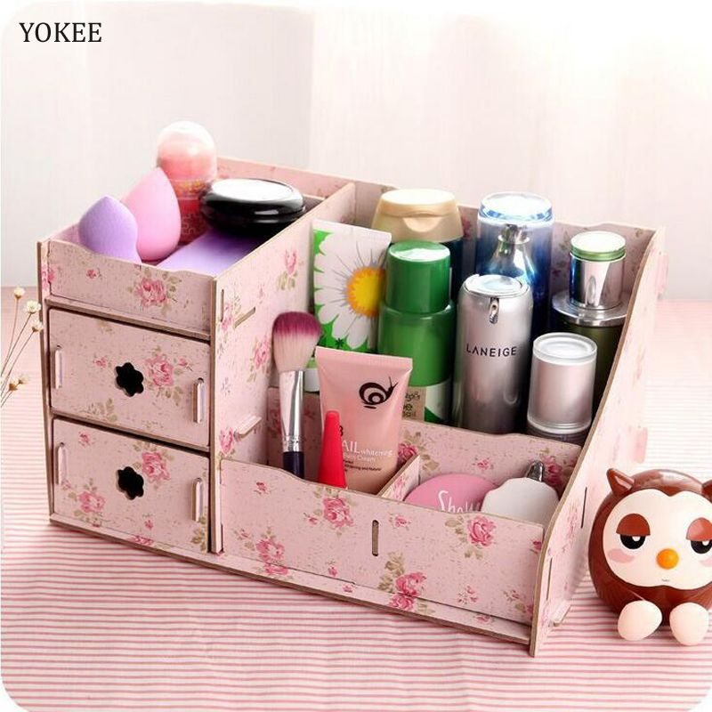 Yokee Diy Wood Storage Box Makeup Organizer Container Jewelry Case
