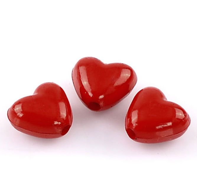 Red Love Heart Beads Kids DIY Jewellery Making Beading Hair DIY Craft 11PCS! by BeckysLovelyBoutique on Etsy