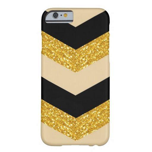 Black Gold Glitter Chevron iPhone 6 Case