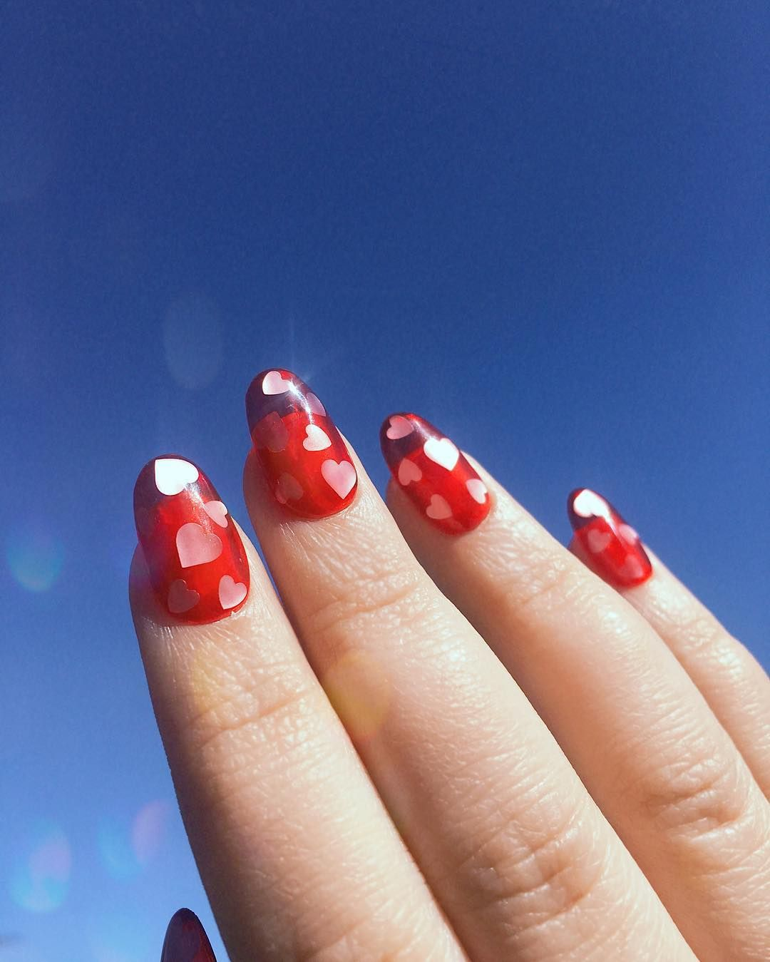 Reusable Jelly Press On Nails With Hearts Valentine S Day Nails Valentines Nails Press On Nails