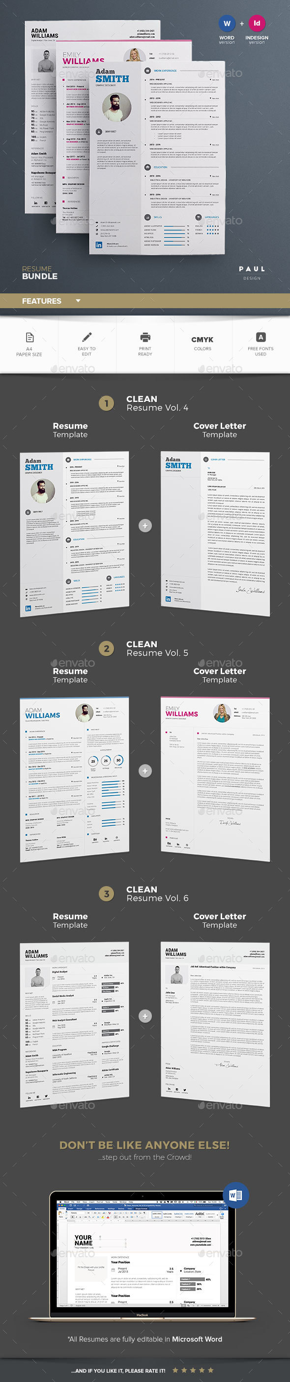Clean Resume Template PSD, InDesign INDD Bundle. Download here: http ...