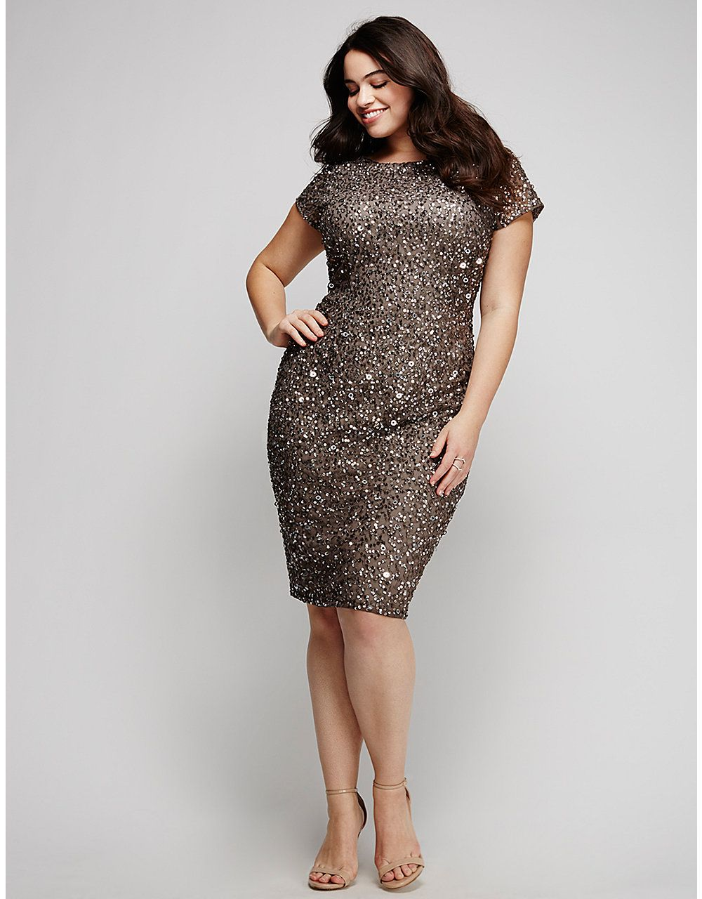 Sequin Cap-Sleeve Dress by Adrianna Papell | Lane Bryant | Curvy ...