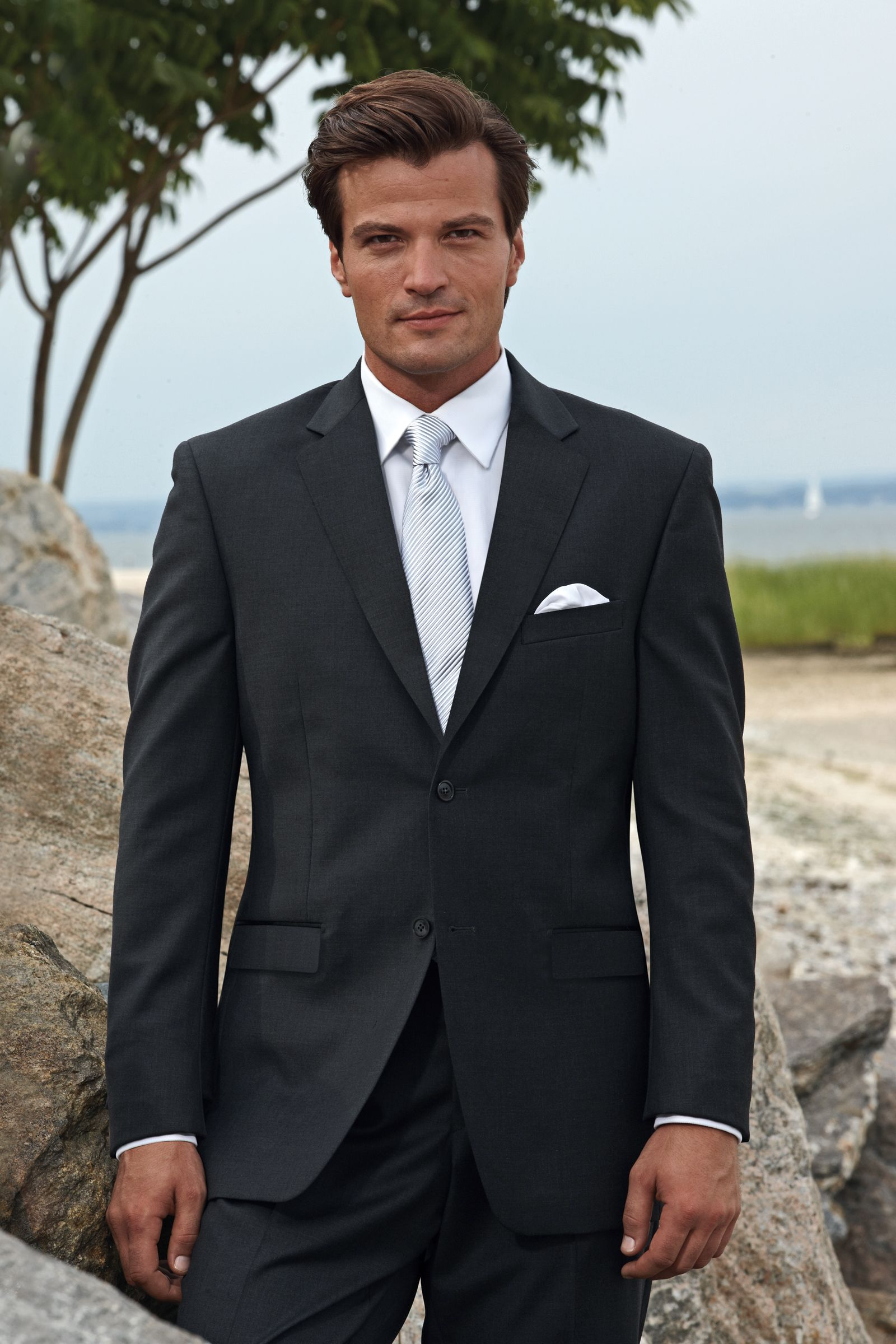 Think Paul Would Look Great In Something Like This Wonder If I Can Get Him To Consider A Charcoal Grey Suit Wedding Black Suit Wedding Grey Suit White Shirt