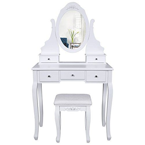 Songmics Coiffeuse Table Blanche De Maquillage Avec Miroir 5